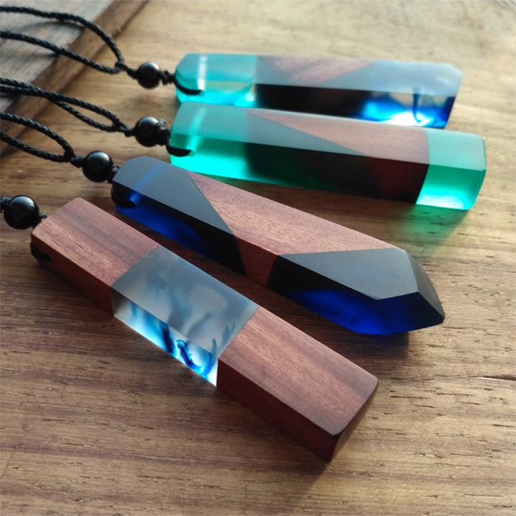 Vòng Cổ May Mắn Dây Chuyền Wood Resin Cổ Điển Từ Gỗ Tự Nhiên - Ocean