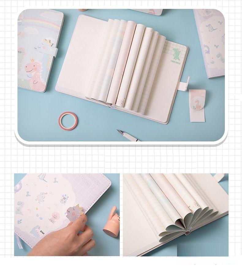 Sổ tay da A5 trang trí từng trang Khủng Long Pastel Tinh Nghịch kèm bookmark