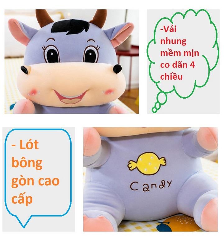Gấu Bông Gối Ôm 2T Trâu Candy Dễ Thương Vải Nhung Co Giãn
