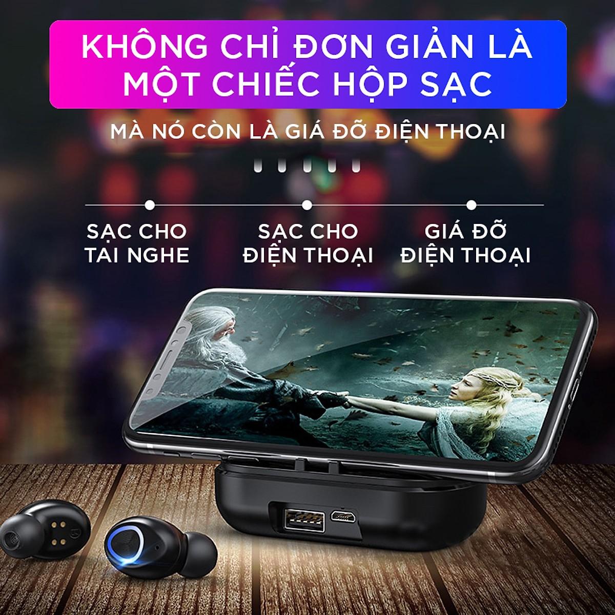Tai Nghe Bluetooth VINETTEAM Tai Nghe Nhét Tai V10 TWS Chất Lượng Cao - Chống Nước IPX7 - Nghe 90h - Tích Hợp Micro - Tự Động Kết Nối - Tương Thích Cao Cho Tất Cả Điện Thoại -chính hãng