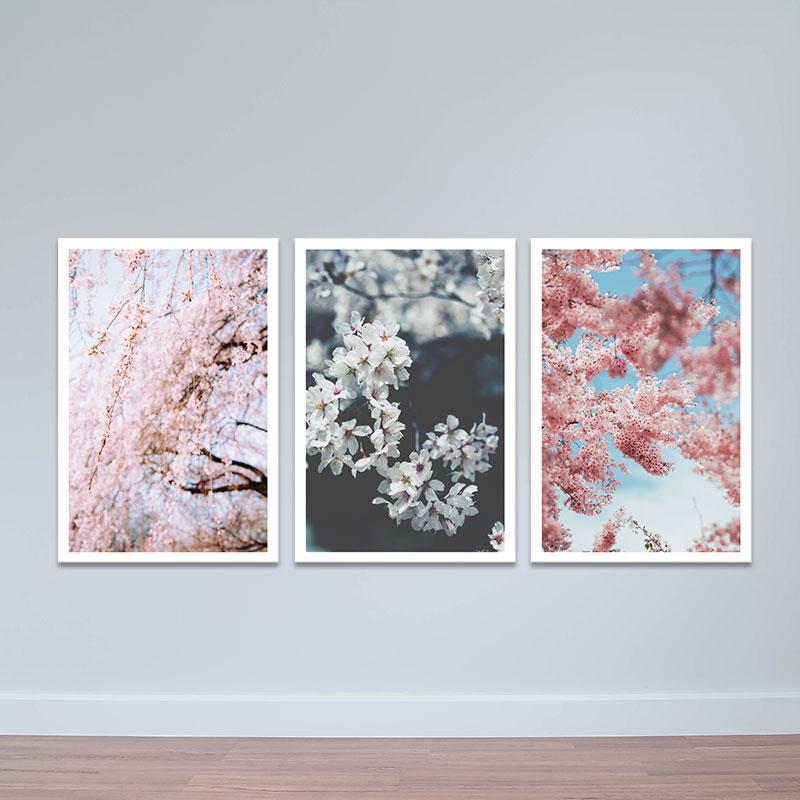 """Bộ 3 tranh trang trí """"Anh đào tươi tắn""""   Tranh treo tường hoa lá W3409 Canvas"""