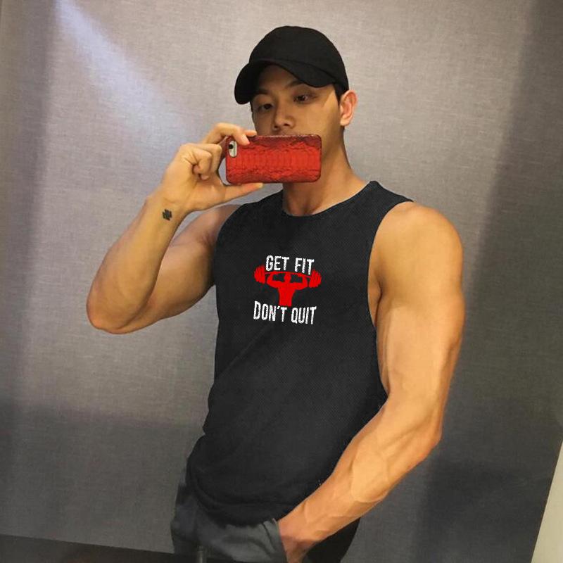 Áo Sát Nách Thể Thao Nam Tập Gym Get Fit Don't Quit - Chất Liệu Thun Lỗ Kim Cao Cấp SZone SA106