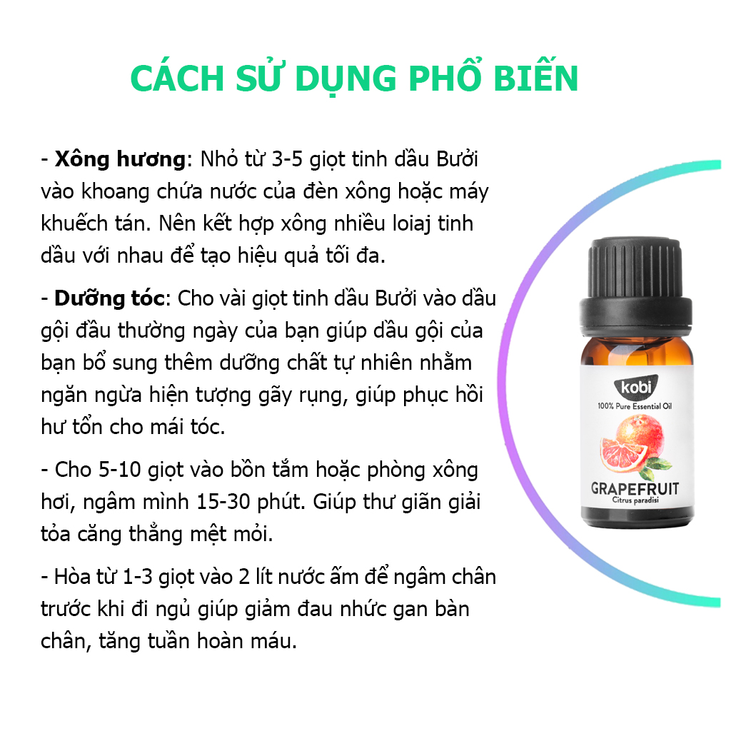 Combo Tinh Dầu Bạc Hà Kobi (50ml) + Tinh Dầu Bưởi Hồng Kobi (50ml) Nguyên Chất