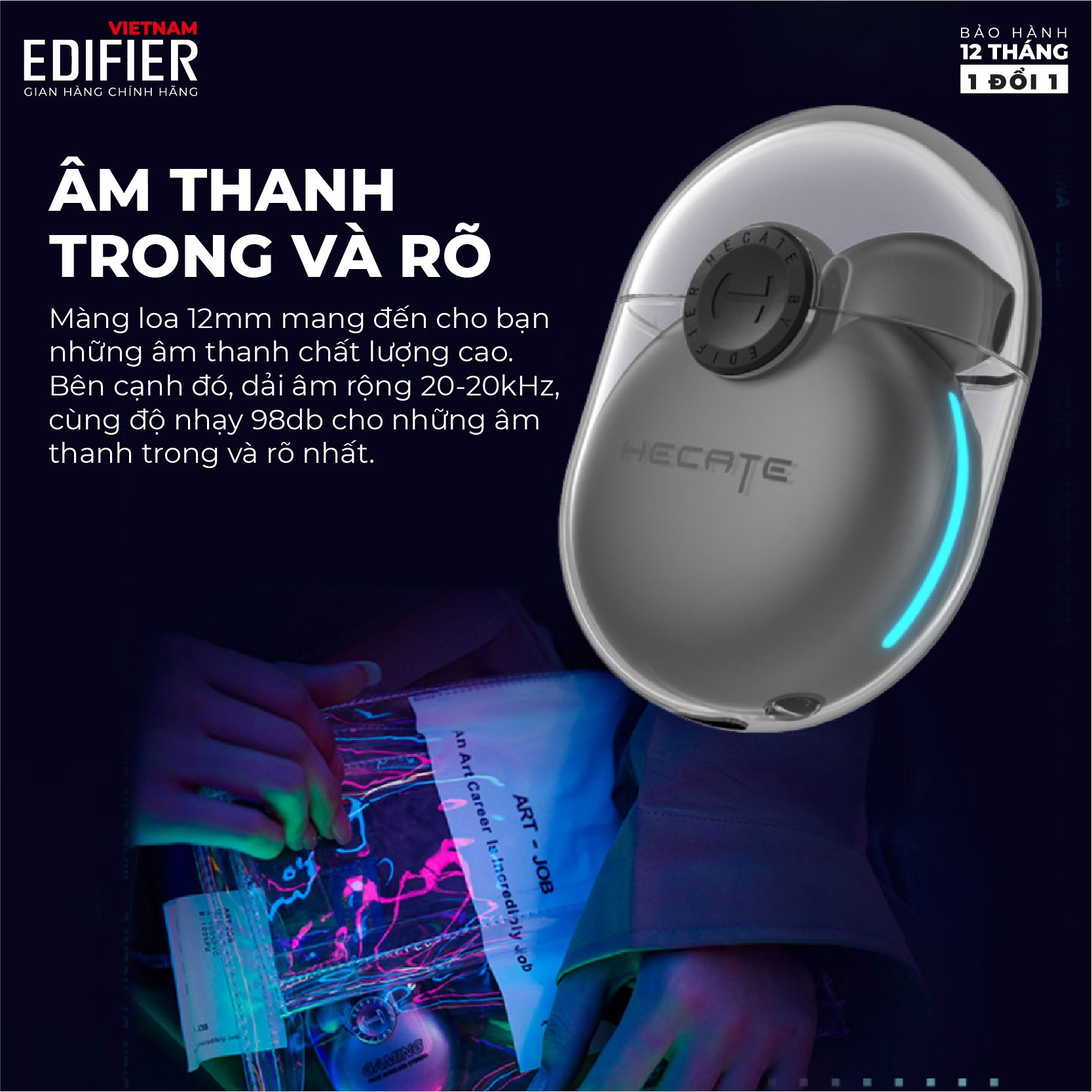 Tai nghe true wireless EDIFIER GM5 HECATE Bluetooth 5.2 Chip Qualcomm atpX Chống nước IPX5 âm thanh Stereo khử tiếng ồn - Hàng chính hãng
