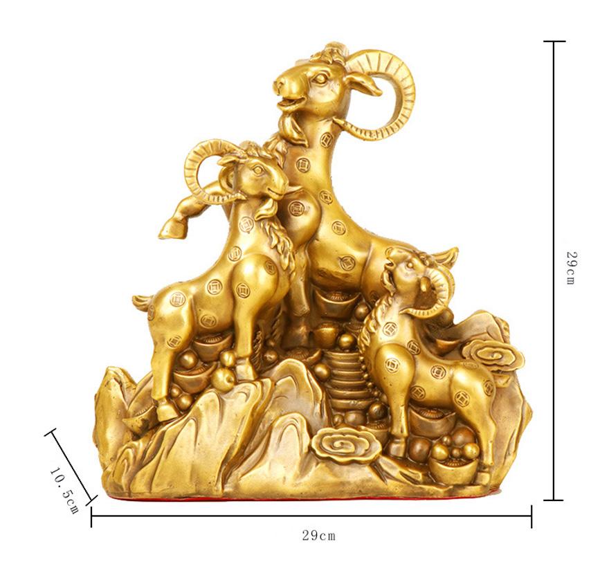 Tượng linh vật tam dương con dê khai thái bằng đồng thau phong thủy