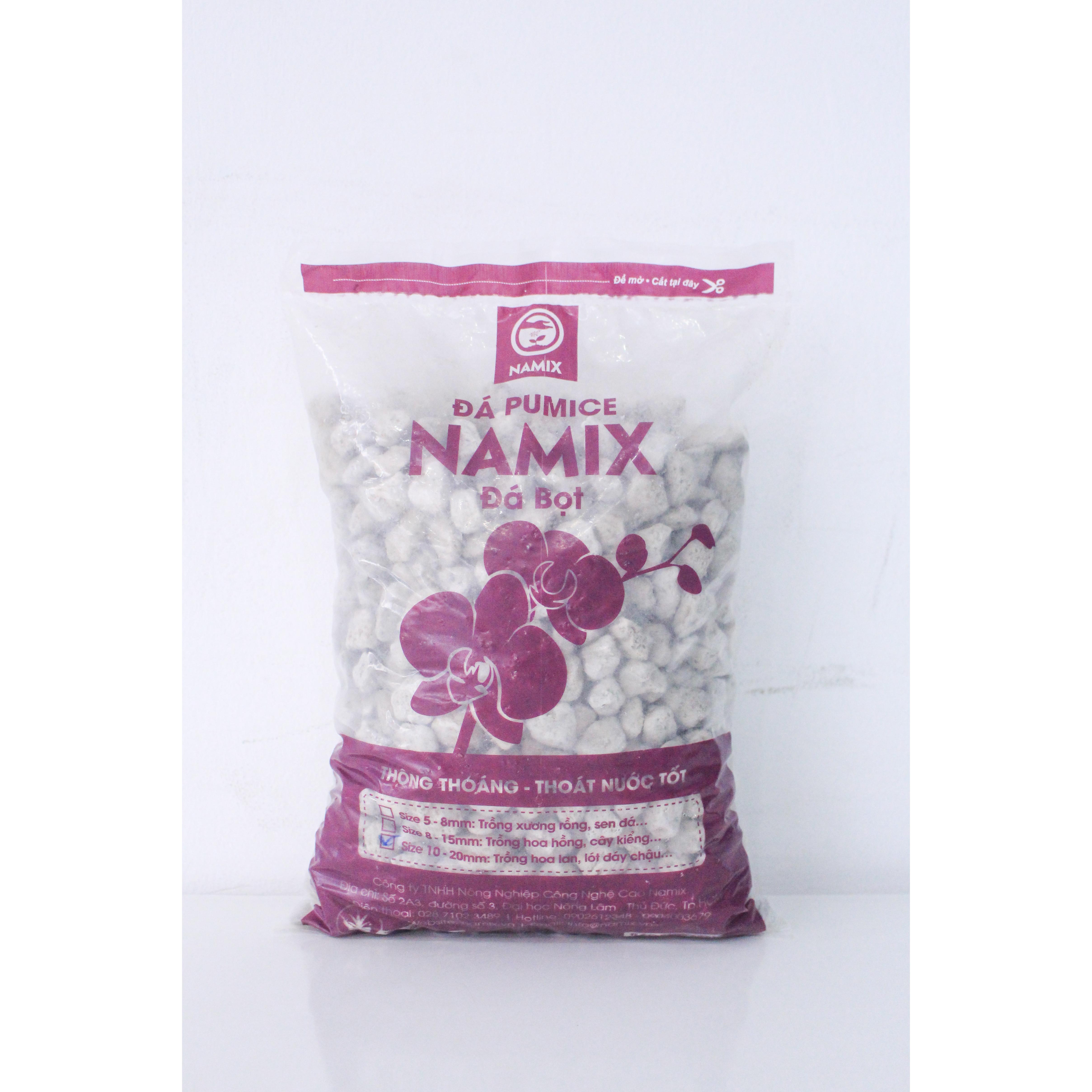 Đá pumice đá bọt Namix Size 10-20mm - Trồng hoa lan, lót đáy chậu - gói 5 Lít 2,5-3kg