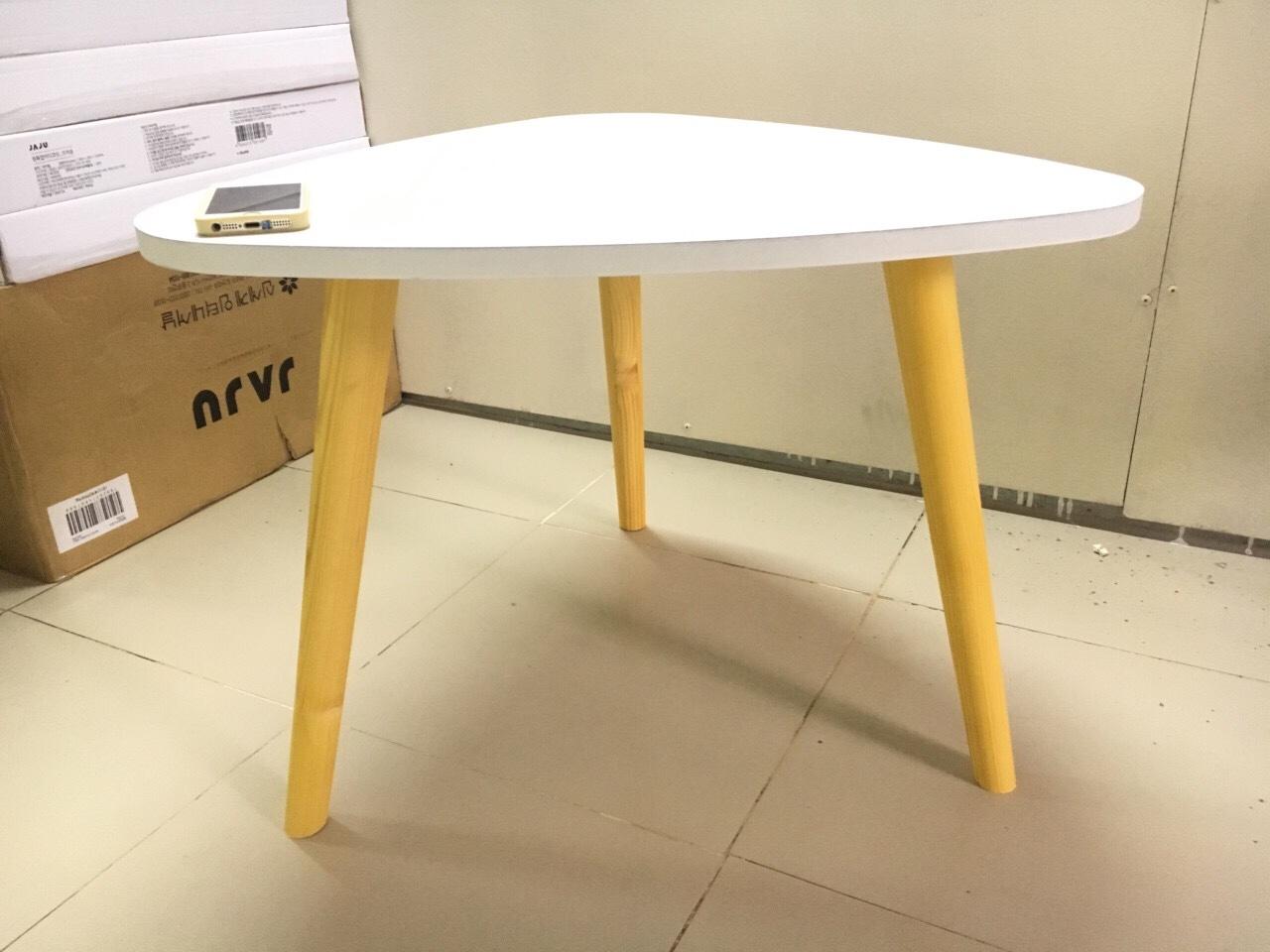 Bàn trà, bàn sofa tam giác trắng 60x45, bàn cafe phòng khách, bàn coffee, bàn gỗ cà phê