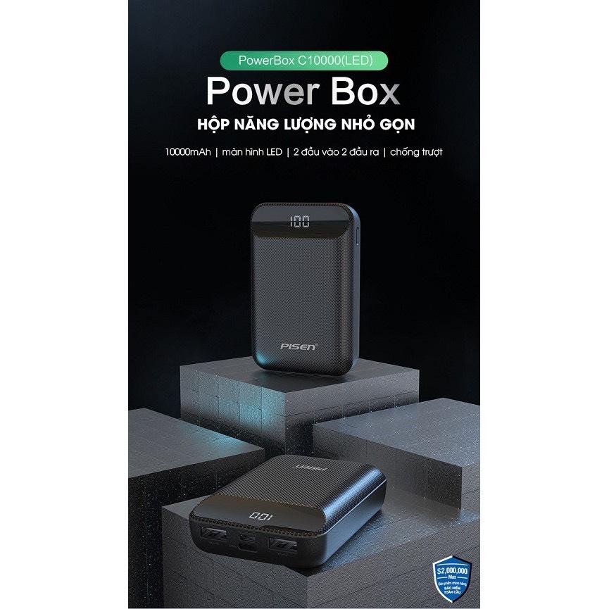Sạc dự phòng Pisen Power Box C10000 (LED) (Mini, Type-C & Micro, 2xUSB, LED ) - Hàng Chính Hãng