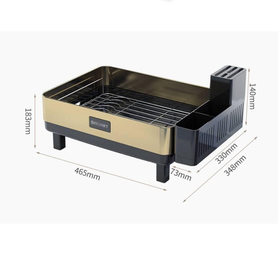 Khay úp chén bát, giá úp chén bát cao cấp có khay hứng nước, giá để bát đĩa (46,5 x 14 x 34,8cm)