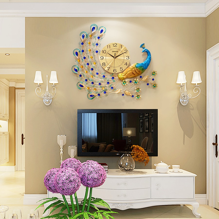 Đồng Hồ Treo Tường Trang Trí Đẹp Con Công S-A22 chim khổng tước độc lạ 3d cỡ lớn nghệ thuật phù hợp cho phòng khách, phòng ngủ