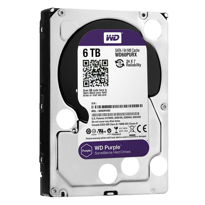 Ổ Cứng HDD Western Digital 6TB 3.5 Sata 3 64MP WD60PURZ - Hàng Chính Hãng