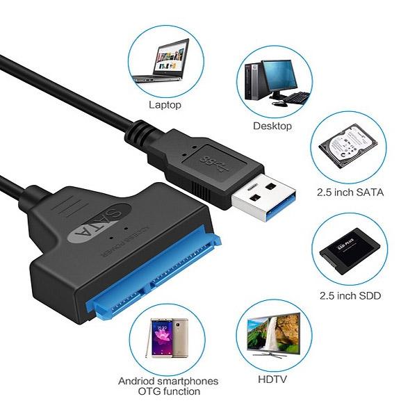 Cáp chuyển đổi kết nối ổ cứng HDD từ Usb 3.0 sang Sata 22 Pin 2.5 inch