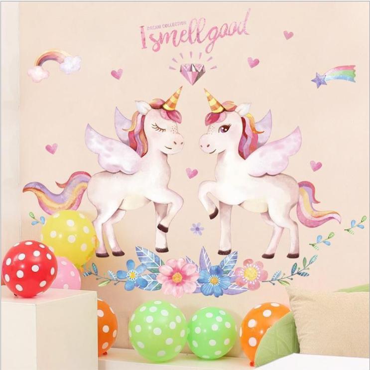 Decal dán tường phòng bé gái dễ thương - decal kỳ lân màu hồng (90 x 120cm)