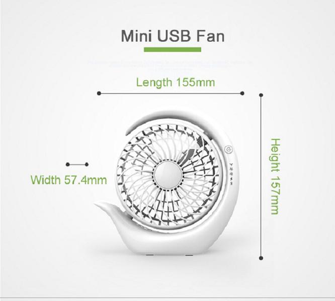 Quạt Sạc Tích Điện Mini Cầm Tay Hoặc Để Bàn và Có Kẹp Tiện Dụng ZLS Xoay 180 Độ ( Màu Trắng )