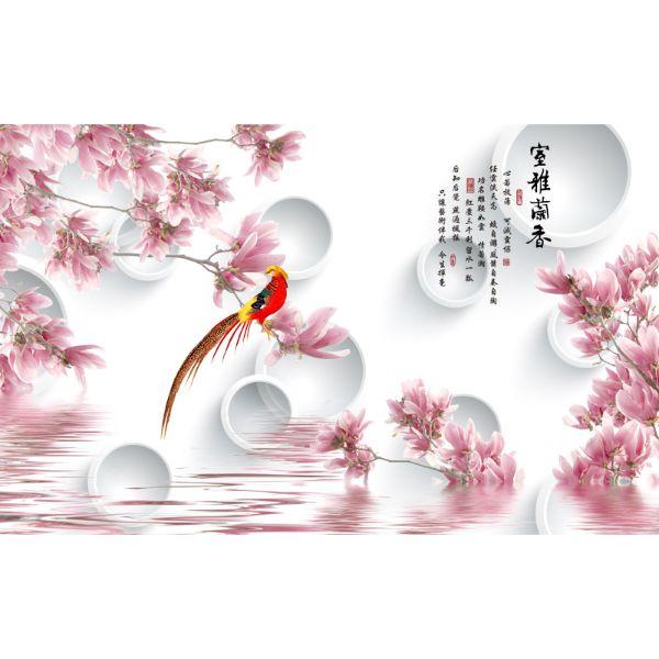 Decal Bóc Dán - Tranh Dán Tường Hoa 3D - T3M--3196-copy