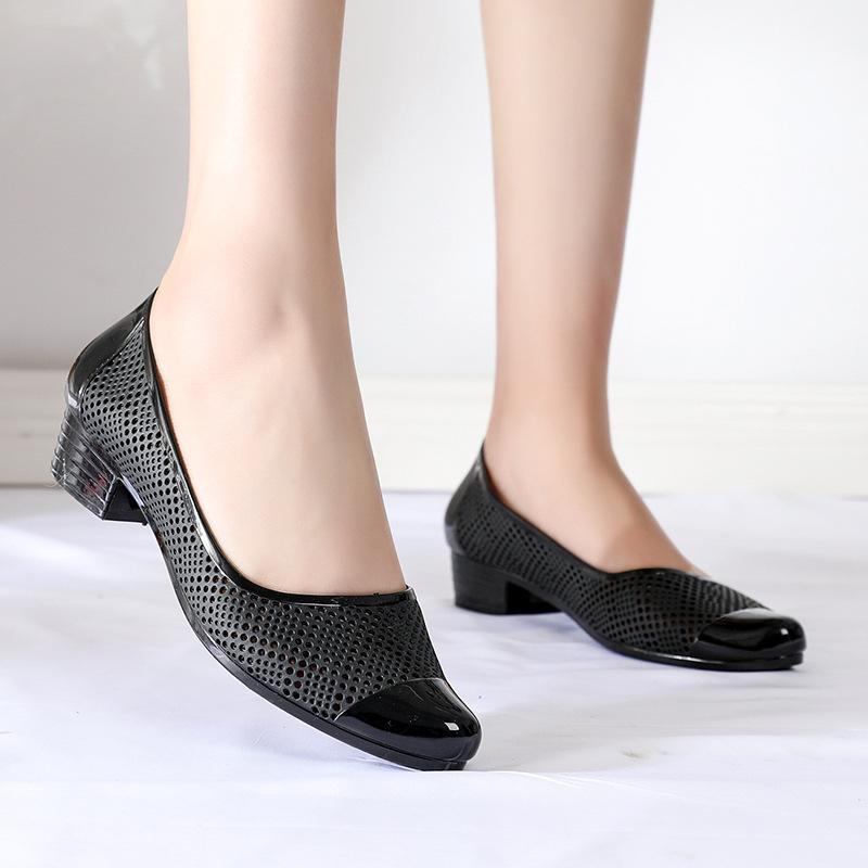 Giày nhựa đi mưa chịu nước chống trơn trượt thoáng chân dáng búp bê công sở 258