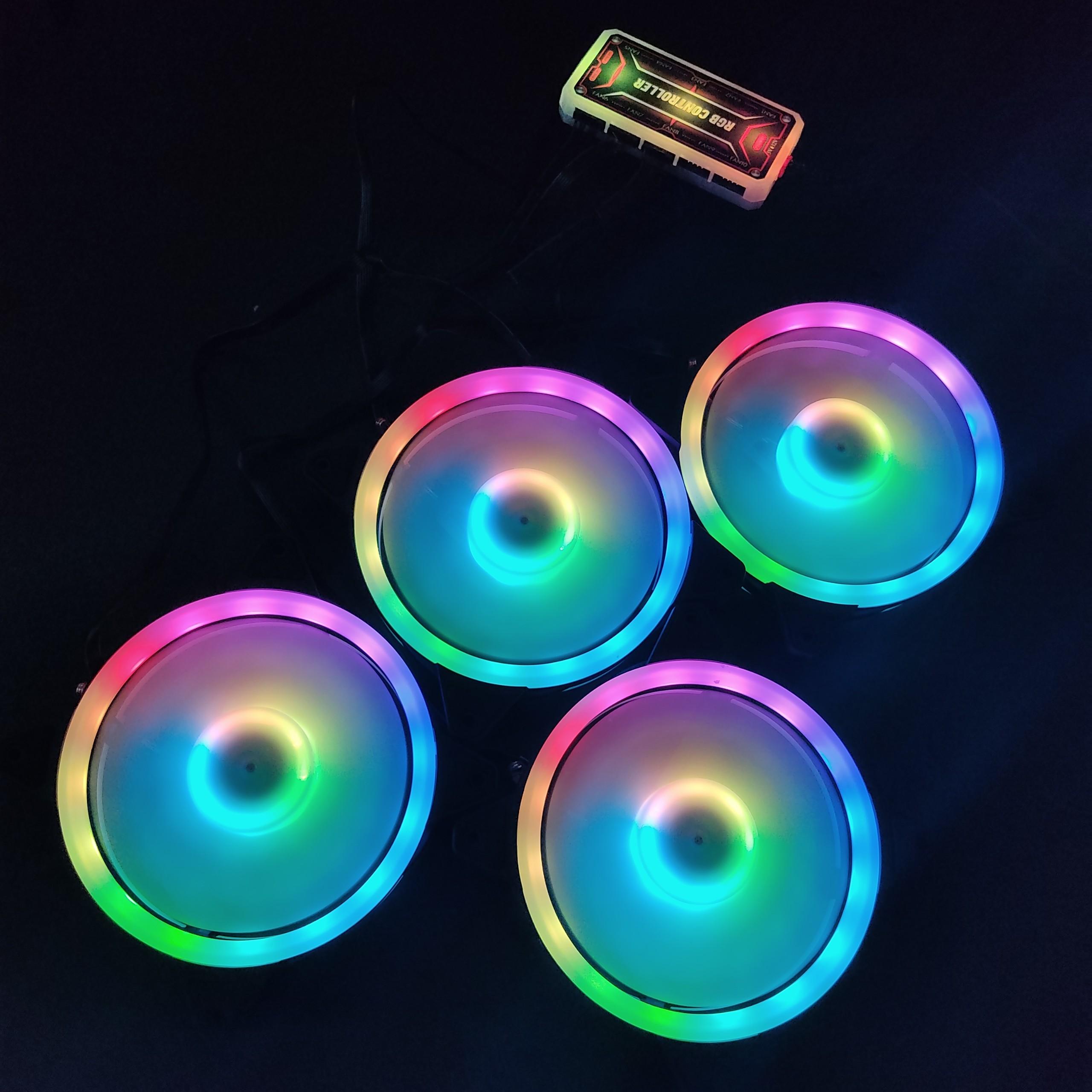 4 Quạt Tản Nhiệt, Fan Case KNC V4 Led RGB đồng bộ màu hệ thống, kèm bộ Hub khiển màu từ xa