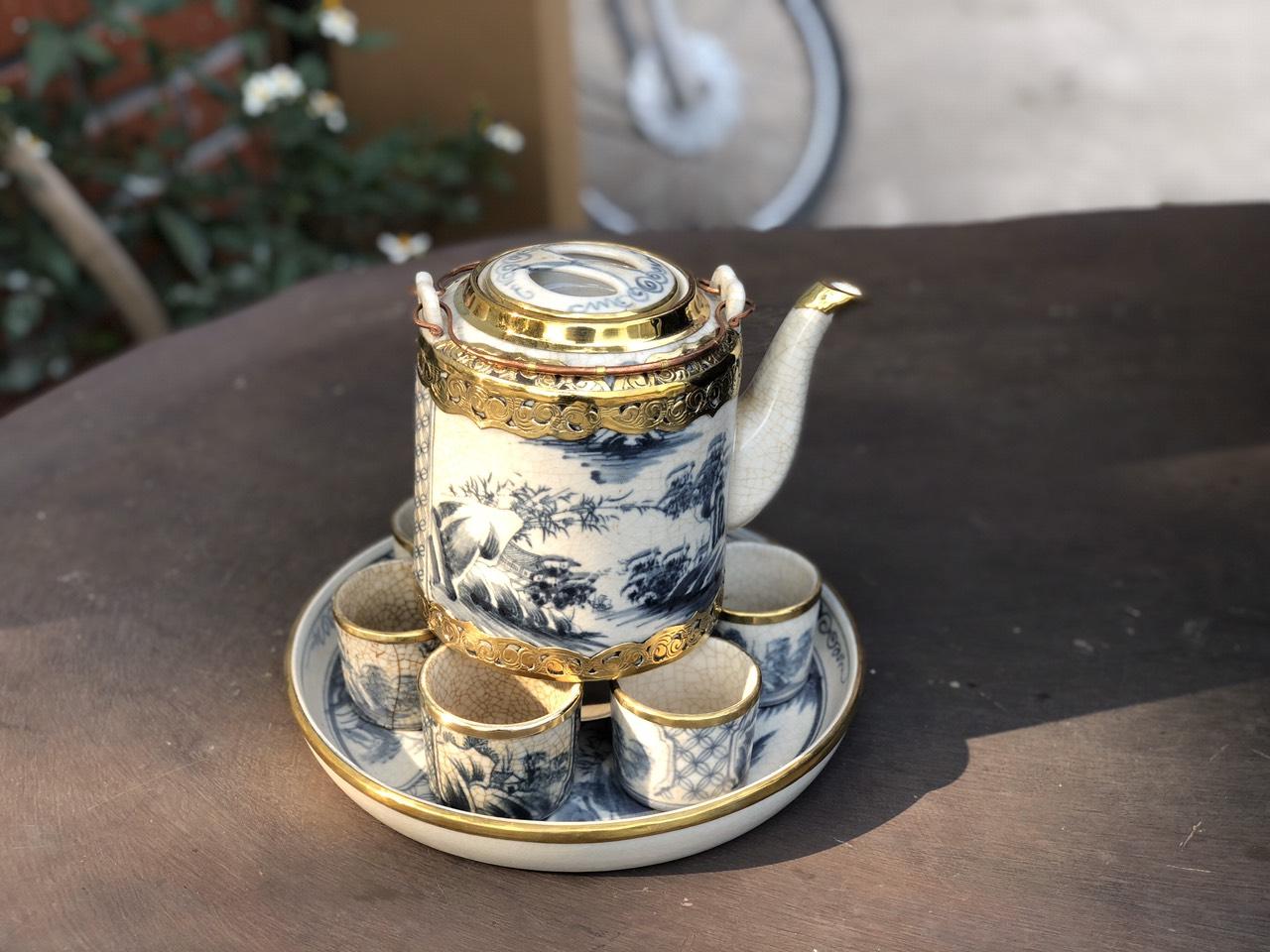 Bộ Ấm Tích Men Rạn Bọc Đồng - Ấm Chén Cao Cấp, hãm nước vối, trà xanh