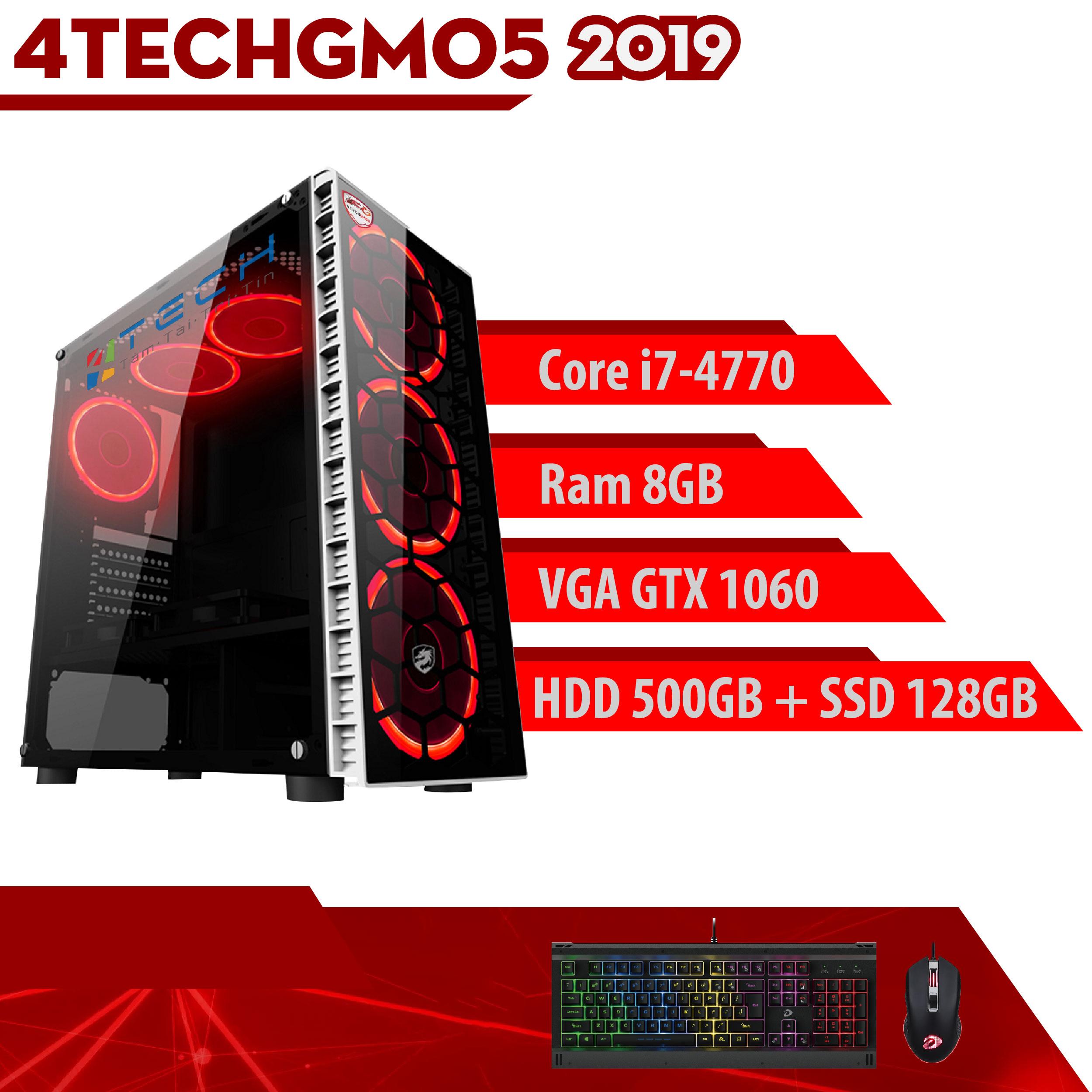 Máy tính Gaming cho Game thủ chơi Games chuyên nghiệp 4TechGM05 2019 trọn bộ Full Box kèm màn 24inch Full HD chiến mọi trò chơi hay đòi cấu hình cao Pubg pc, mobile, GTA5, fifa, pes maxsetting tất cả các Game phổ thông LOL, Dota, cf. - Hàng Chính Hãng.