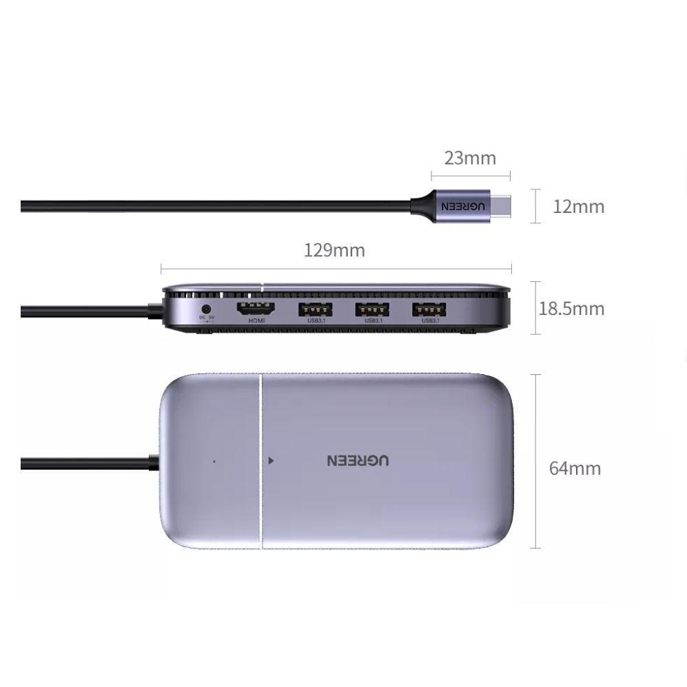 Bộ chuyển USB type C ra 3 cổng USB 3.1 Gen2 + HDMI + PD 100W + cấp nguồn DC + SSD M.2 NGFF Docking Station CM296 70449 - Hàng chính hãng