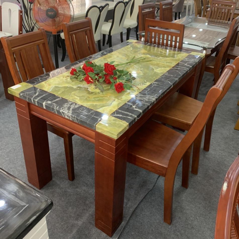 Bộ bàn ăn mặt đá nhập khẩu MD09 1M4 6 ghế