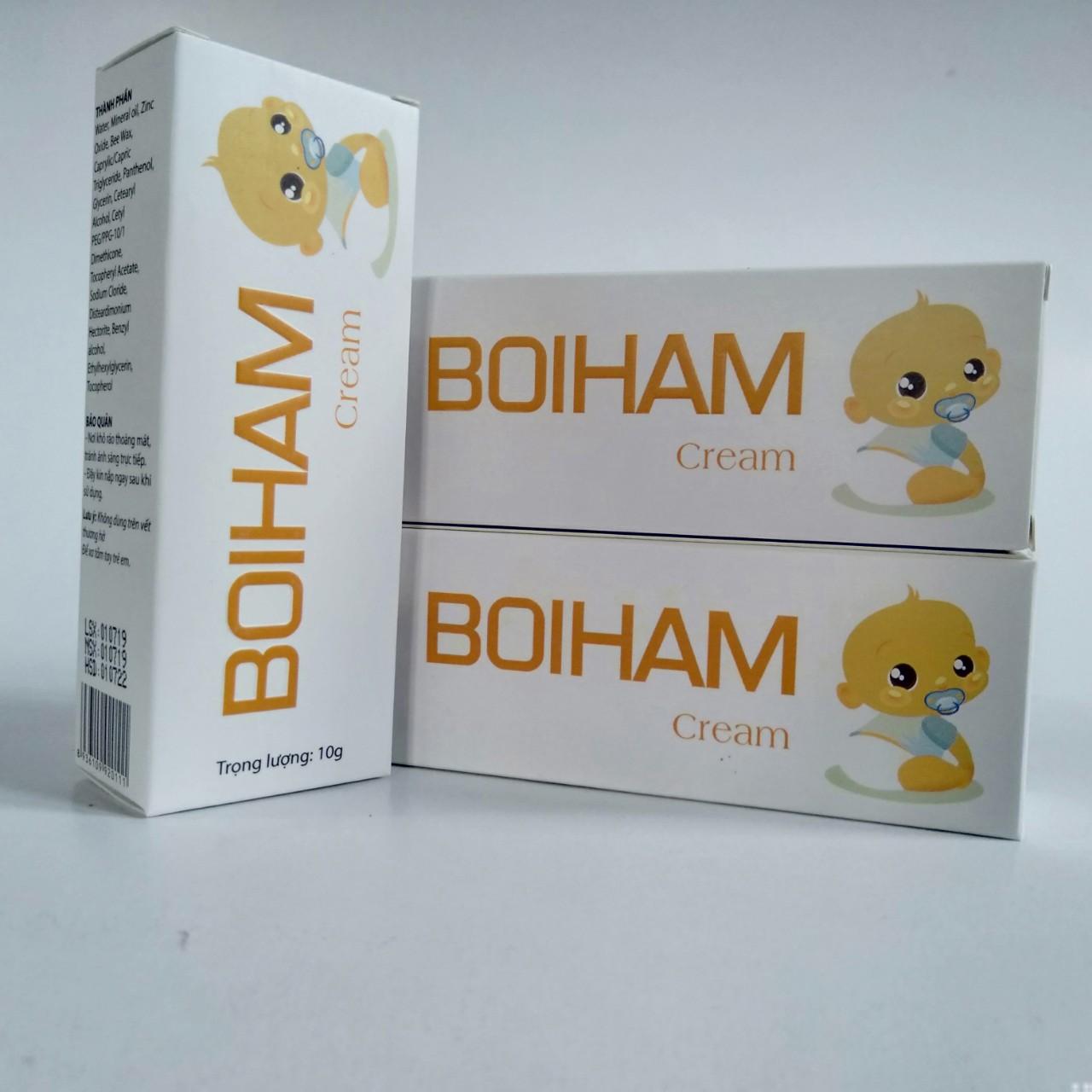 [COMBO 3 HỘP] Kem giảm hăm BOIHAM Cream bảo vệ cho làn da nhạy cảm của em bé tránh khỏi các tác nhân gây kích ứng, giúp phòng ngừa hăm tã, giúp da bé luôn mềm mịn- tuýp 10g, hàng chính hãng