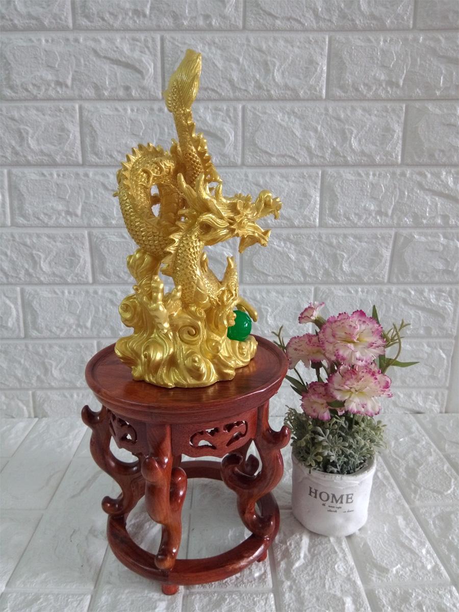 Tượng rồng vàng cuốn chất liệu đá poly - RDV26