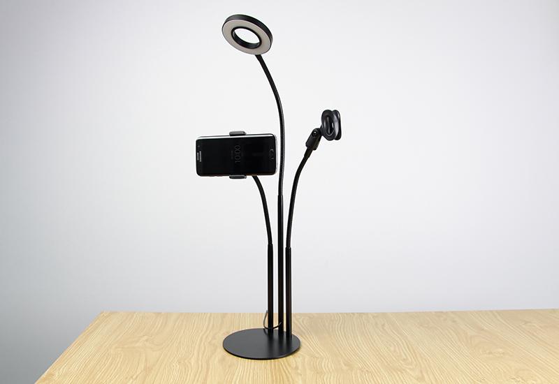 Giá đỡ điện thoại smartphone chụp hình, quay video Livestream có đèn led -301