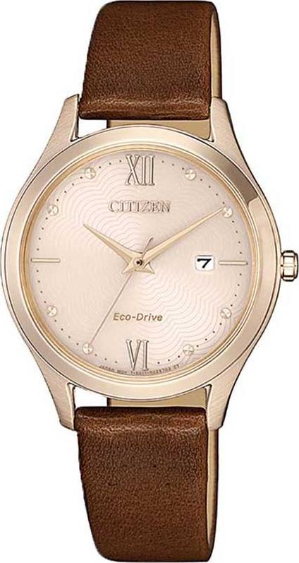 Đồng hồ Nữ Citizen dây da EW2533-11X Mặt Vàng Hồng (30mm)
