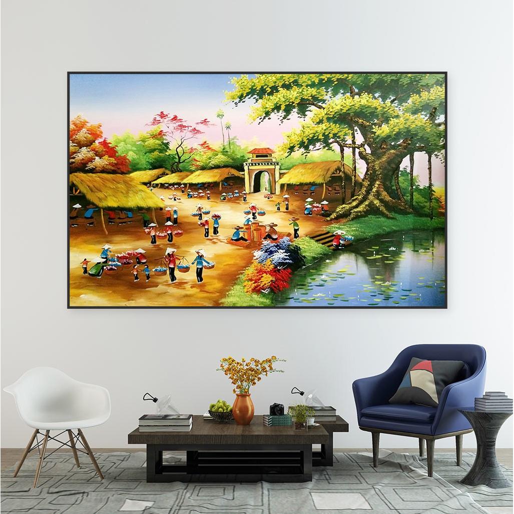 Tranh Canvas Trang Trí Treo Tường - Phong Cảnh Làng Quê