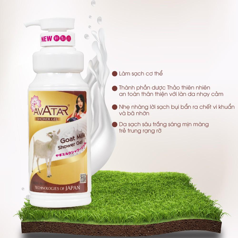 Sữa tắm dê Avatar Goat Milk 900ml - Sản xuất theo công nghệ Nhật Bản với tinh chất thiên nhiên và các khoáng chất nuôi dưỡng làn da mịn màng thơm lâu