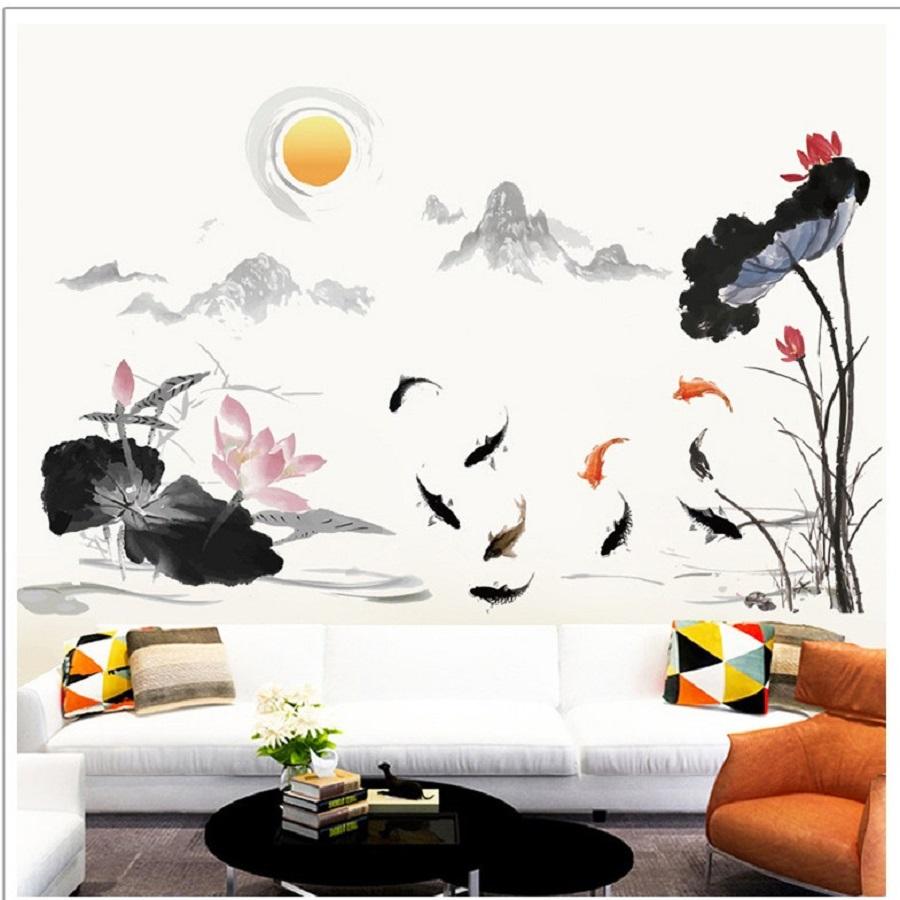 Decal dán tường phòng khách hồ sen phong cảnh Việt Nam thơ mộng - combo Trang trí sang trọng