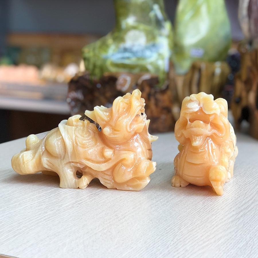 Cặp Tỳ Hưu phong thủy đá Ngọc Hoàng Long Roxi