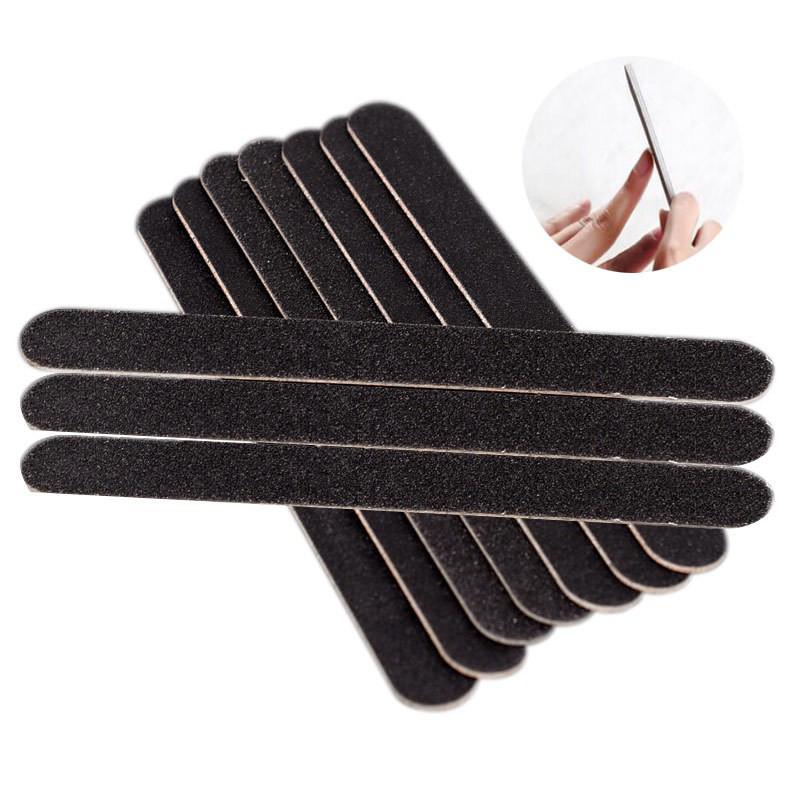 Bộ 10 cây dũa móng tay 2 mặt bằng giấy ráp đen có thể chùi rửa kích thước 17.8x2x0.4cm