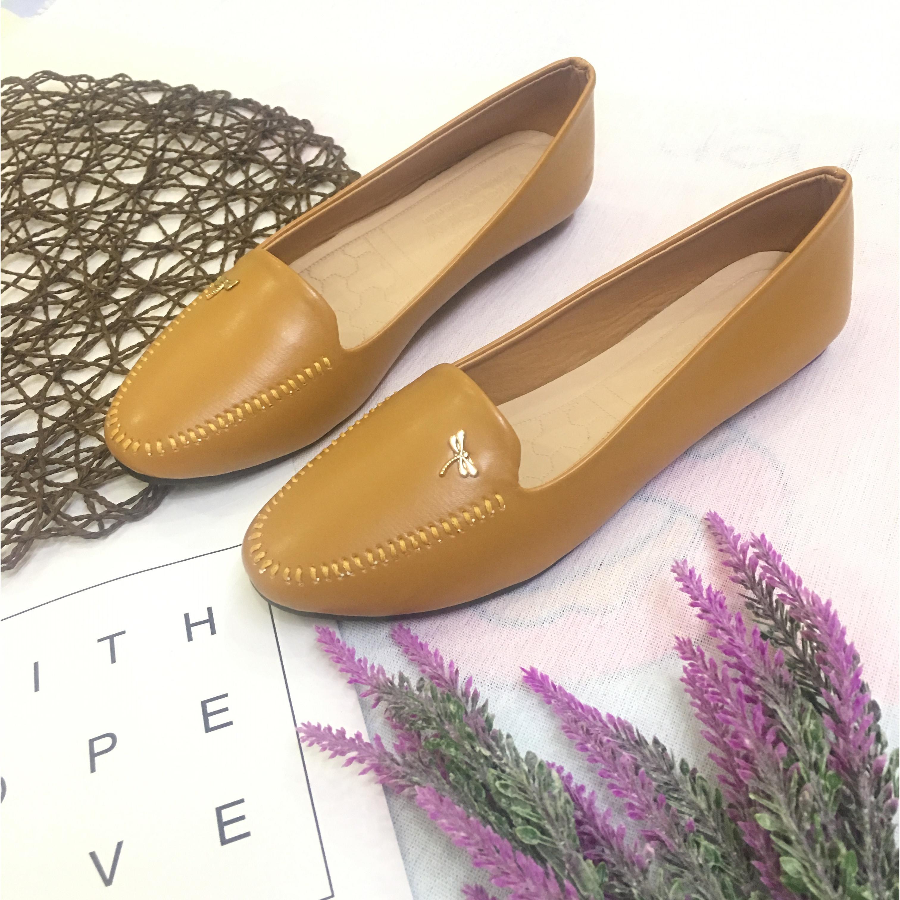 Giày búp bê nữ đế bằng đính nơ chuồn xinh xắn hàng VNXK siêu bền-M8