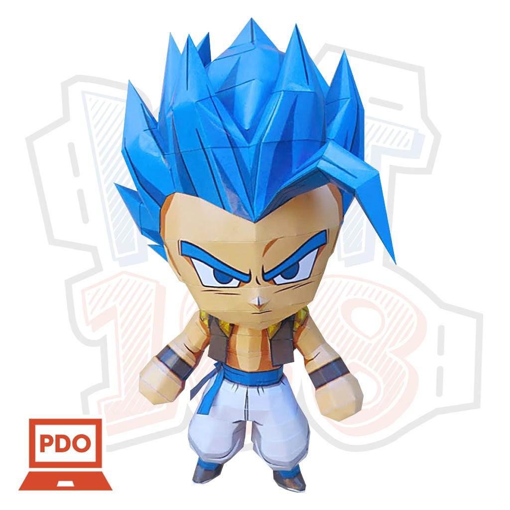Mô hình giấy Anime Chibi Gogeta Blue - Dragon Ball