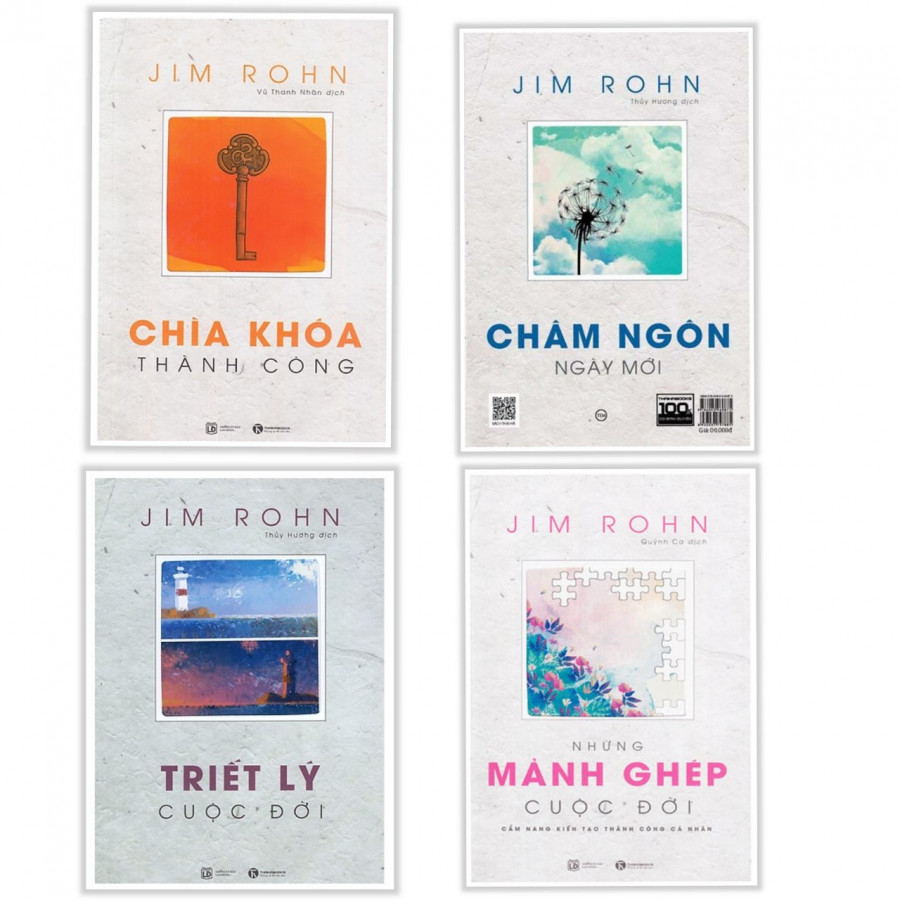 Combo Bộ Sách Jim Rohn: Triết Lý Cuộc Đời + Châm Ngôn Ngày Mới + Chìa Khóa Thành Công + Những Mảnh Ghép Cuộc Đời - Tặng kèm Bookmark Thiết Kế Aha