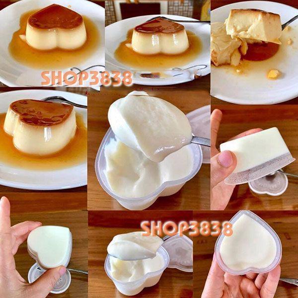 Como 50 Khuôn Làm Bánh Flan Trái Tim Sữa Chua Rau Cau Có Nắp