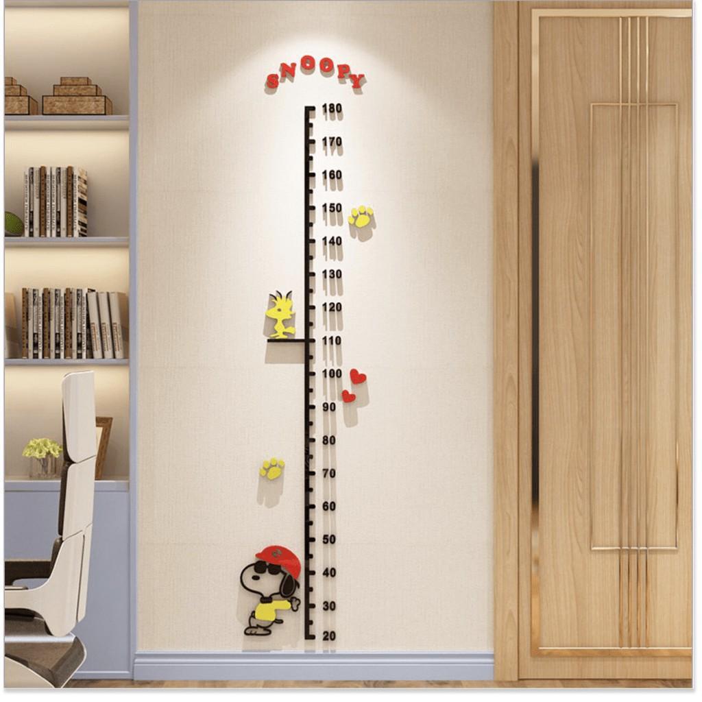 Miếng dán tường đo chiều cao cho bé Snoopy Hat 3D