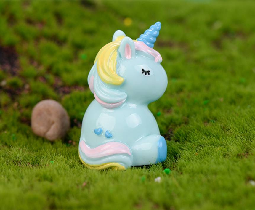 Tượng trang trí Unicorn dễ thương ngồi 4,6cm - 1 hình - màu ngẫu nhiên