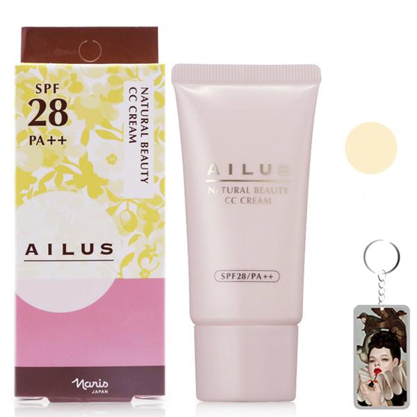 Kem trang điểm sáng da Naris Natural Beauty CC Cream Nhật Bản 30ml (#01 Lvory Yellow) + Móc khóa