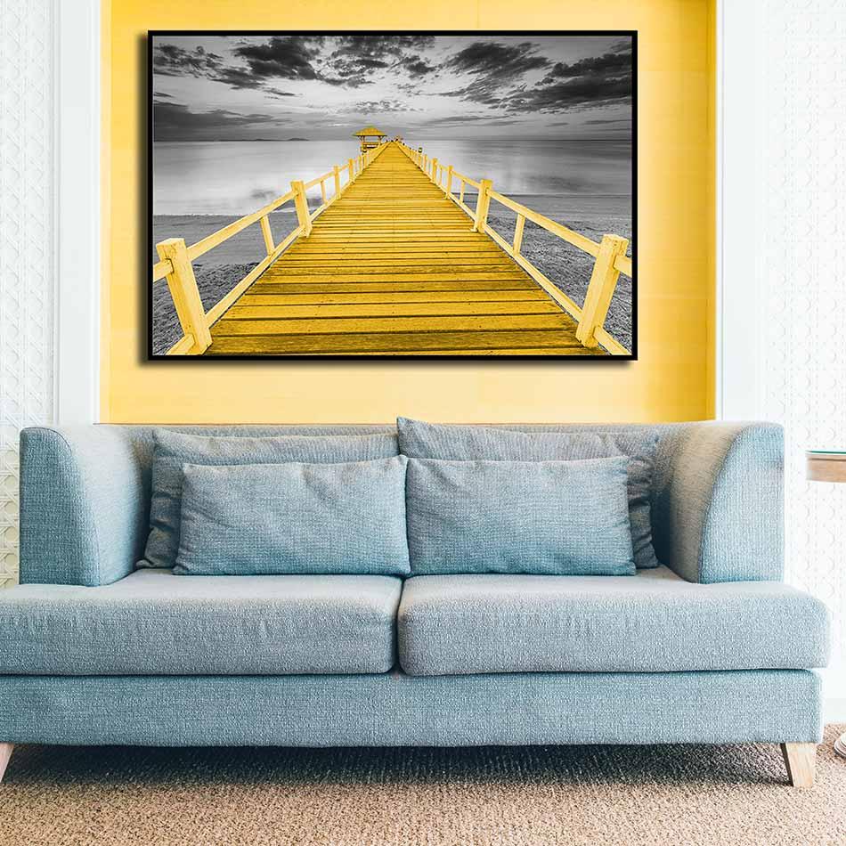 Tranh đơn canvas treo tường Decor Cây cầu trên bãi biển - DC155