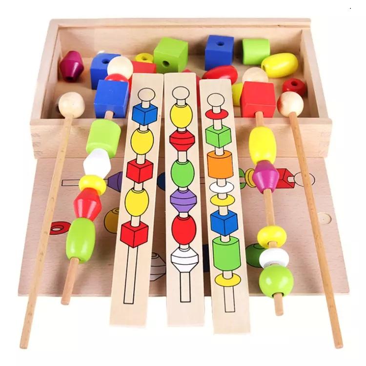 Hộp đồ chơi xâu, chuỗi gỗ giúp bé nhận biết màu sắc, hình học