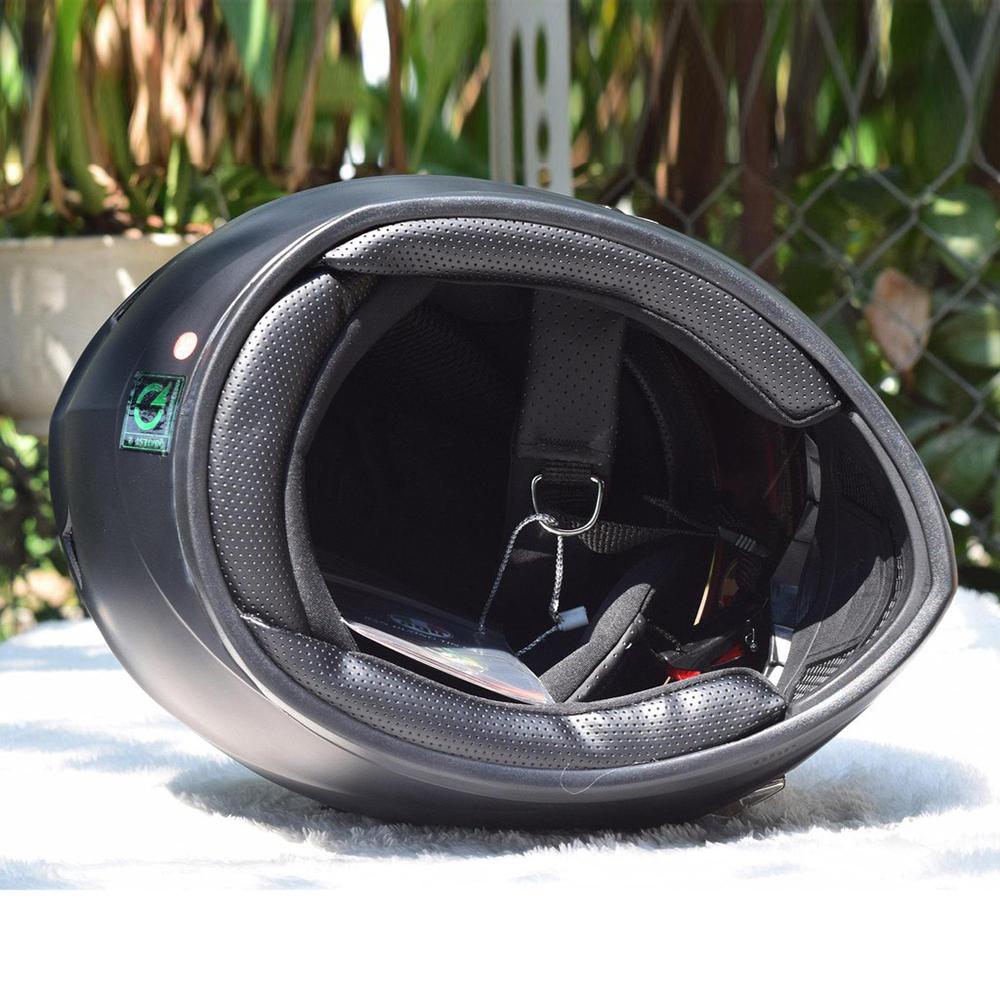 Nón bảo hiểm fullface AGU full đen TẶNG khăn ninja + túi đựng (Kính gương)