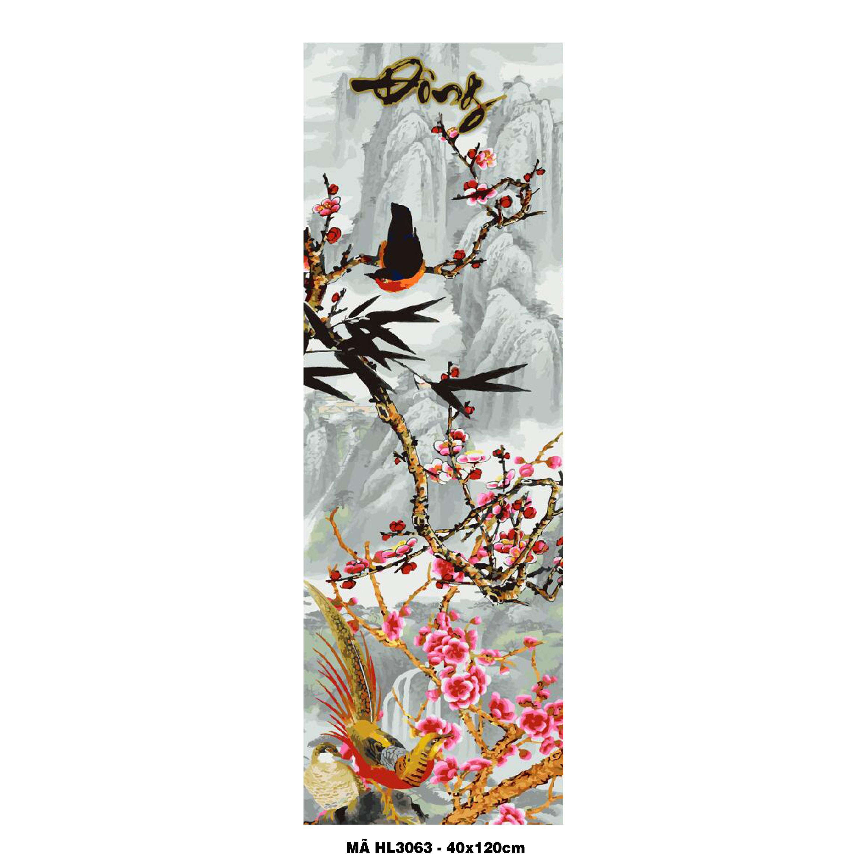 Bộ tranh tứ quý Tranh tô màu theo số sơn dầu số hóa Xuân Hạ Thu Đông Tranh trang trí sang trọng