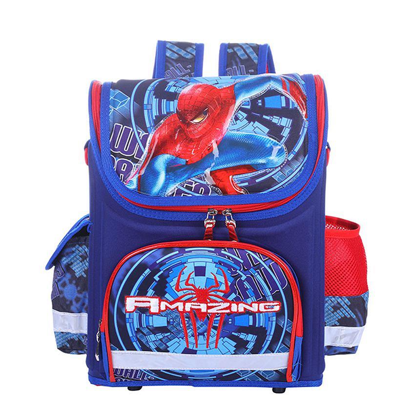Balo chống gù lưng dạng hộp cho học sinh các cấp Spider Man