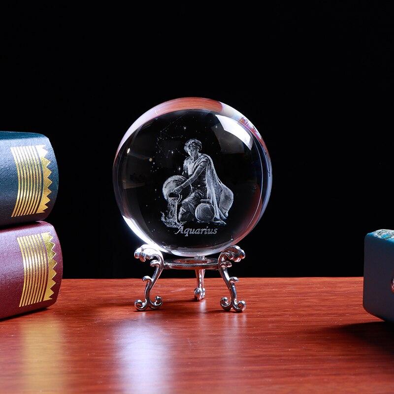 Pha lê khắc 3D Laser cung Bảo Bình - Aquarius
