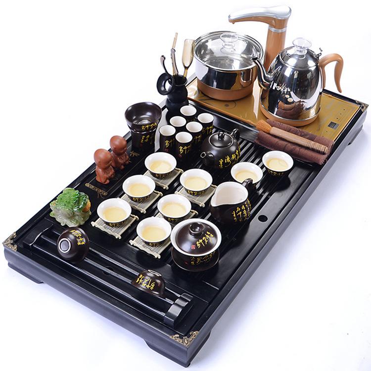 Bàn trà điện thông minh giá rẻ - Bộ đầy đủ khay bàn màu đen, bộ bếp pha trà cùng ấm chén chữ thư pháp