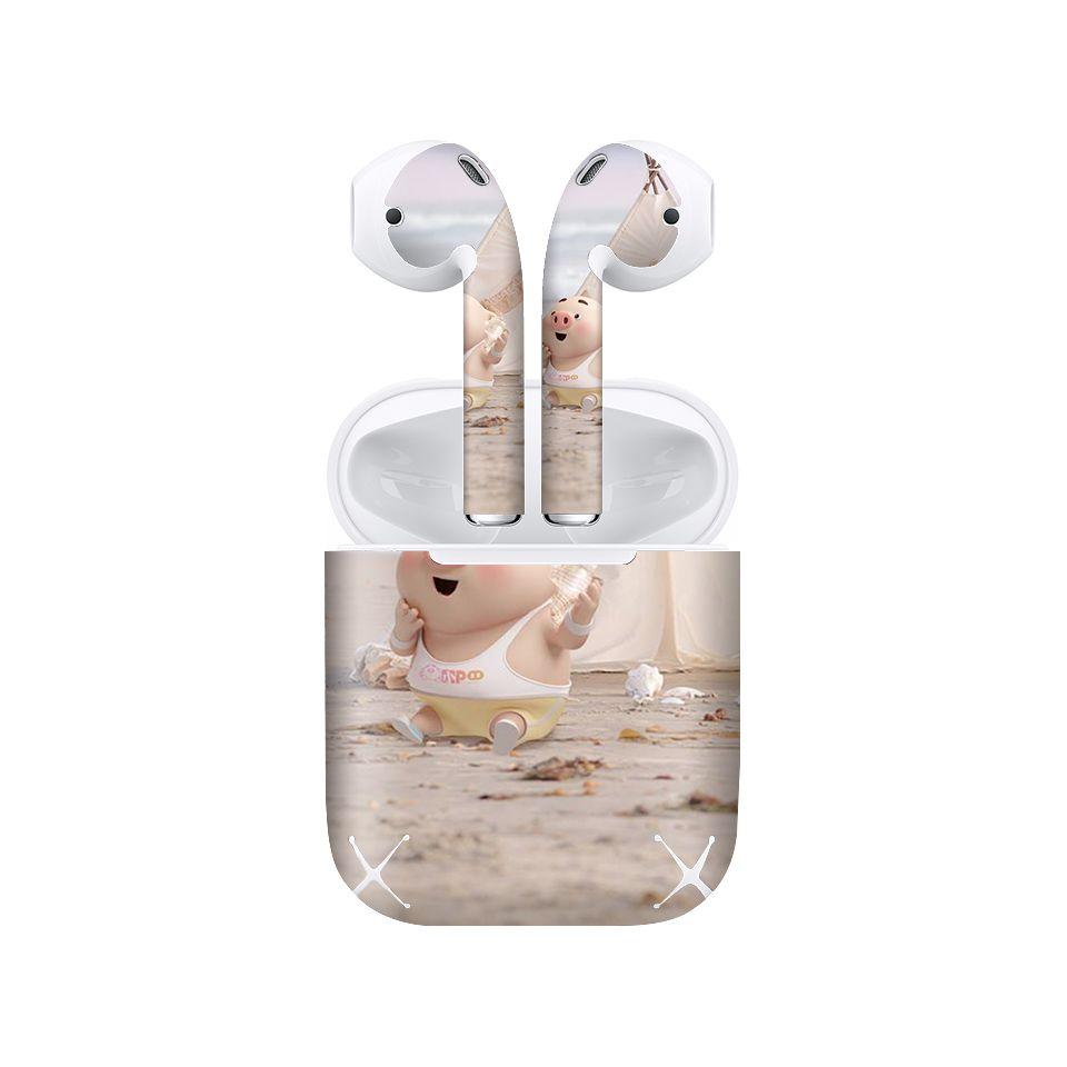 Miếng dán skin chống bẩn cho tai nghe AirPods in hình Heo con dễ thương - HEO2k19 - 018 (bản không dây 1 và 2)