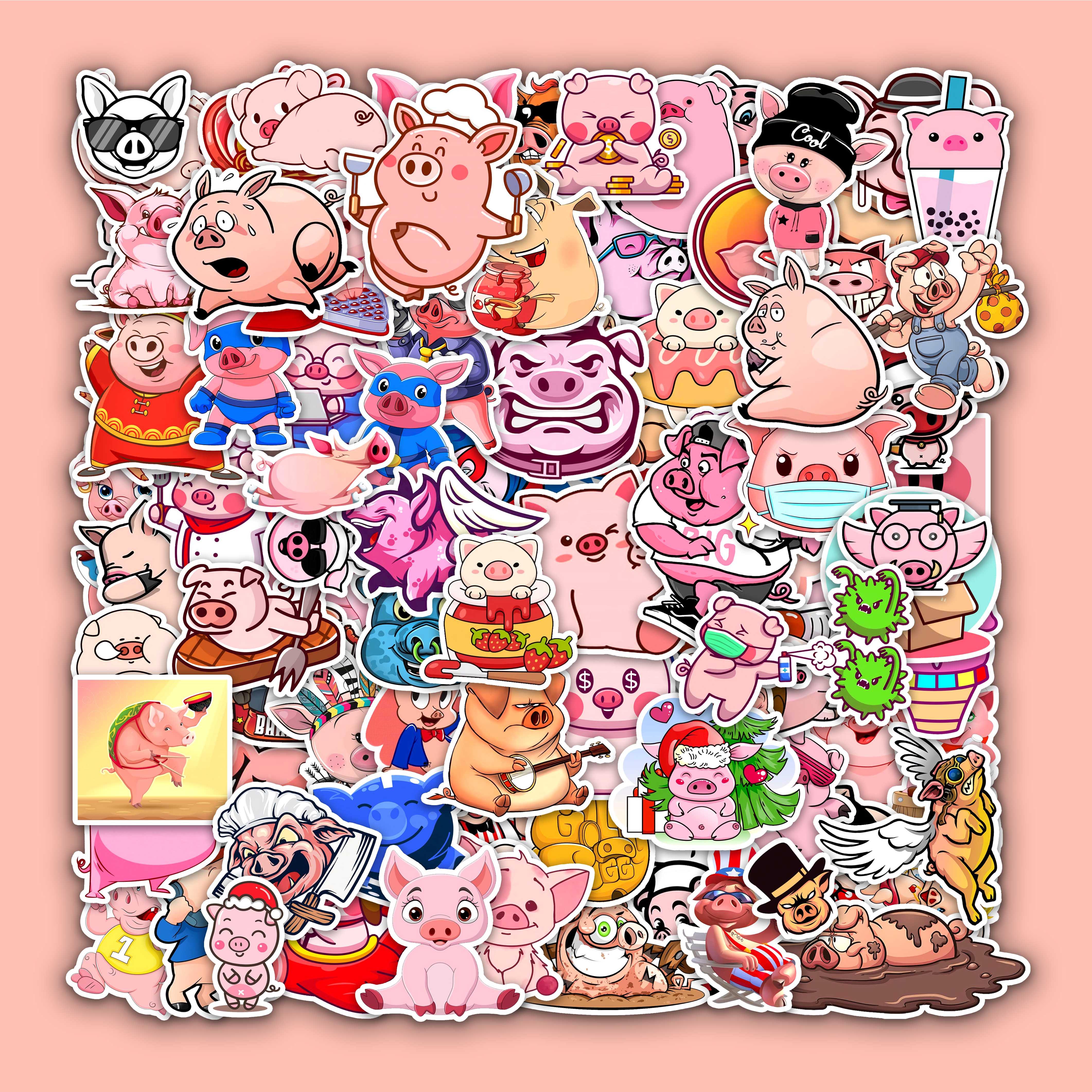 100 Miếng Dán Hình Con Heo Hồng Đáng Yêu Cute Dán Nón Bảo Hiểm , Sticker Dán Laptop...